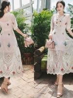 เสื้อผ้าแฟชั่นเกาหลี Lady Marie Fancy Flower Blossom Lace Maxi Dress