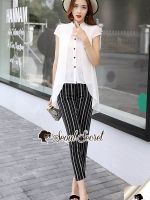 Seoul Secret Say's... Stylish Stripe Pants Cami Spritty Set