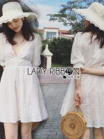 เสื้อผ้าแฟชั่นเกาหลี Lady Ribbon's Made Lady Victoria Casual Holiday White Cotton Dress