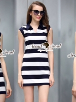 Seoul Secret Say's... Stripy chic chilly dress