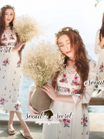 Seoul Secret Say's... Salmon Pink Blossom Summer Maxi Dress