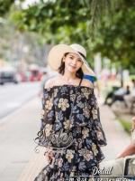 เสื้อผ้าแฟชั่นเกาหลี 2Sister Made, Sweet & Cuties Flora Print Maxi Dress