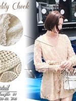 เสื้อผ้าแฟชั่นเกาหลี 2Sister Made, White & Cream Colors Lovely Sparkling Cuties Dress