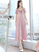 🎀 Lady Ribbon's Made 🎀Lady Miranda Pleated Ruffle Pale Pink Chiffon Dress