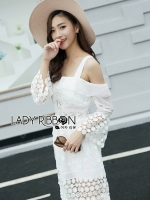 &#x1F380 Lady Ribbon's Made &#x1F380 Self-Portrait Double Strap White Chiffon and Lace Maxi Dress