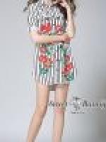 เสื้อผ้าแฟชั่นเกาหลี Sweet Bunny Present... Floral Mix Stripe Dress Shirt