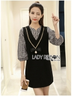 🎀 Lady Ribbon's Made 🎀 Lady Windy Checked Black Dress with Ribbon Necklace