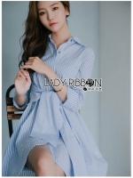 🎀 Lady Ribbon's Made 🎀 Lady Jamie Mix-Striped Ribbon Twisted Cotton Dress