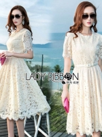 🎀 Lady Ribbon's Made 🎀 Lady Nasha Sweet Classic White Lace Dress with Belt