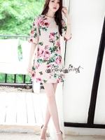 เสื้อผ้าแฟชั่นเกาหลี Lady Ribbon Thailand Seoul Secret Say'...Crepe Dress Pink Rose Print Vintage Style