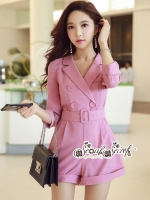 เสื้อผ้าแฟชั่นเกาหลี Lady Ribbon Thailand Seoul Secret Say'...Short Leg Suit Classic Luxury Pink Tones