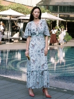 เสื้อผ้าแฟชั่นเกาหลี Lady Ribbon Thailand Morning Posh Present D.S.Y brand new collection maxi dress