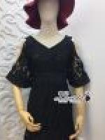 เสื้อผ้าแฟชั่นเกาหลี Korea Design By Lavida Aristocrat v neck chop sleeve leaf lace dress code1765