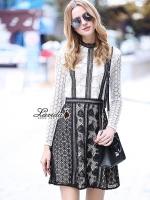 เสื้อผ้าแฟชั่นเกาหลี Korea Design By Lavida Elegant heart lace long sleeve dress code8181