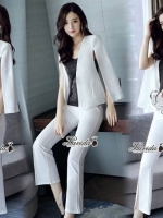เสื้อผ้าแฟชั่นเกาหลี Korea Design By Lavida Fashionable suit top long pants set code8176