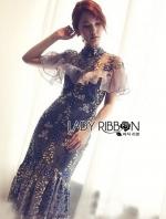 เสื้อผ้าแฟชั่นเกาหลี Lady Ribbon's Made Lady Erika Ruffle Flower Lace Cocktail Dress