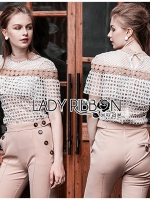 🎀 Lady Ribbon's Made 🎀 Lady Emily Guipure Lace Self-Portrait Blouse and Beige Pants Set