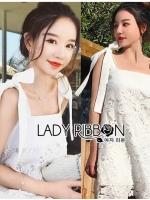 🎀 Lady Ribbon's Made 🎀Lady Serena Sweet Honey Ribbon Strap Lace Dress