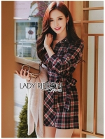 เสื้อผ้าแฟชั่นเกาหลี Lady Ribbon Thailand Lady Ribbon's Made Lady Rachel Ribbon Twist Tartan Wool Shirt Dress