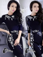 เสื้อผ้าแฟชั่นเกาหลี Cliona made'Crystal Black Luxury Dress - Mini dress