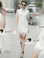 Seoul Secret Say's... Turtleneck Flora Ivory Lace Dress