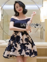 เสื้อผ้าแฟชั่นเกาหลี Lady Ribbon Thailand Made Lady Diane Off-Shoulder Cotton and Flower Embroidered Tulle Dress