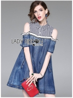 🎀 Lady Ribbon's Made 🎀Lady Violet Shoulder Cut-Out Denim and Checked Shirt Dress
