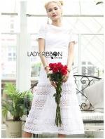 เสื้อผ้าแฟชั่นเกาหลี Lady Meryl Basic Laser-Cut White Cotton Dress