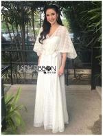 เสื้อผ้าแฟชั่นเกาหลี Lady Jessica Little Princess Embroidered Chiffon Long Dress with Camellia Belt