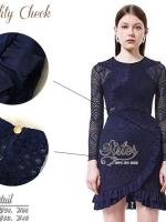เสื้อผ้าแฟชั่นเกาหลี 2Sister made, Navy Lovely Premium Dress