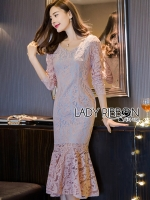 🎀 Lady Ribbon's Made 🎀 Lady Classy Feminine Peplum Pink Lace Dress