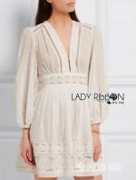 เสื้อผ้าแฟชั่นเกาหลี Lady Ribbon's Made Lady Grace Polkadot Embroidered White Chiffon Mini Dress