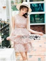 เสื้อผ้าแฟชั่นเกาหลี Lady Ribbon's Made Lady Layla Baby Pink Ruffle Layered Embroidered Lace & Cotton Dress