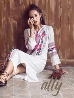 เสื้อผ้าแฟชั่นเกาหลี Normal Ally Present Bohemian Embroidered maxi dress