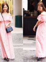 เสื้อผ้าแฟชั่นเกาหลี Lady Ribbon Thailand Normal Ally Present Topshop new lace maxi dress