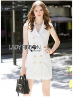 🎀 Lady Ribbon's Made 🎀 Lady Kate Smart Chic Double-Breasted White Suit Dress