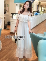 🎀Lady Ribbon's Made 🎀 Lady Carine Casual Chic Off-Shoulder Ruffle Maxi Dress