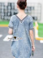 เสื้อผ้าแฟชั่นเกาหลี Seoul Secret Say's...V Stripy Collar Denim Dress