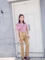 เสื้อผ้าแฟชั่นเกาหลี Sweet Bunny Present... Stripe Red Off Shoulder Layer Top With Gold Pants Set