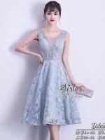 เสื้อผ้าแฟชั่นเกาหลี 2Sister Made, Sweet Blue Beauty Paradise Vintage Dress