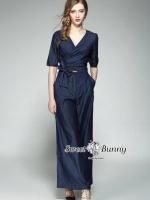 เสื้อผ้าแฟชั่นเกาหลี Sweet Bunny Present... Blue Jersey Wrap Denim Jumpsuit