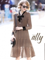 เสื้อผ้าแฟชั่นเกาหลี Lady Ribbon Thailand Normal Ally Present Boutique and classy dress