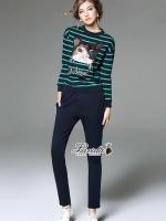 เสื้อผ้าแฟชั่นเกาหลี Korea Design By Lavida Cattish striped shirt long pants set code1835