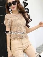 เสื้อผ้าแฟชั่นเกาหลี Seoul Secret Say's... Creamming Lace Cami Gucci Belt Set
