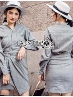 เสื้อผ้าแฟชั่นเกาหลี Lady Ribbon's Made Lady Smart Chic Twist Ribbon Shirt Dress