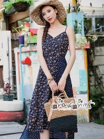 เสื้อผ้าแฟชั่นเกาหลี Lady Ribbon Thailand Seoul Secret Say'...Summer Maxi Dress Single Line Floral Prints