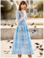 เสื้อผ้าแฟชั่นเกาหลี Lady Ribbon Thailand Lady Ribbon's Made Lady Eva Modern Feminine Lace Midi Dress