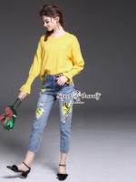 เสื้อผ้าแฟชั่นเกาหลี Sweet Bunny Present... Yellow Print Jeans Set