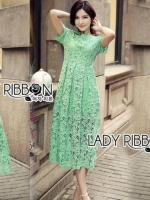เสื้อผ้าแฟชั่นเกาหลี Lady Ribbon's Made Lady Penelope Elegant Feminine Minty Lace Maxi Dress