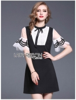 เสื้อผ้าแฟชั่นเกาหลี Lady Ribbon's Made Lady Alisa Preppy Feminine Ruffle-Sleeved Black and White Mini Dress with Ribbon